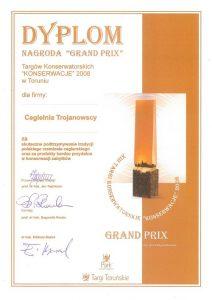 Nagroda Targi Toruńskie Grand Prix Konserwacje 2008 dla cegieł ręcznie produkowanych w Cegielni Trojanowscy
