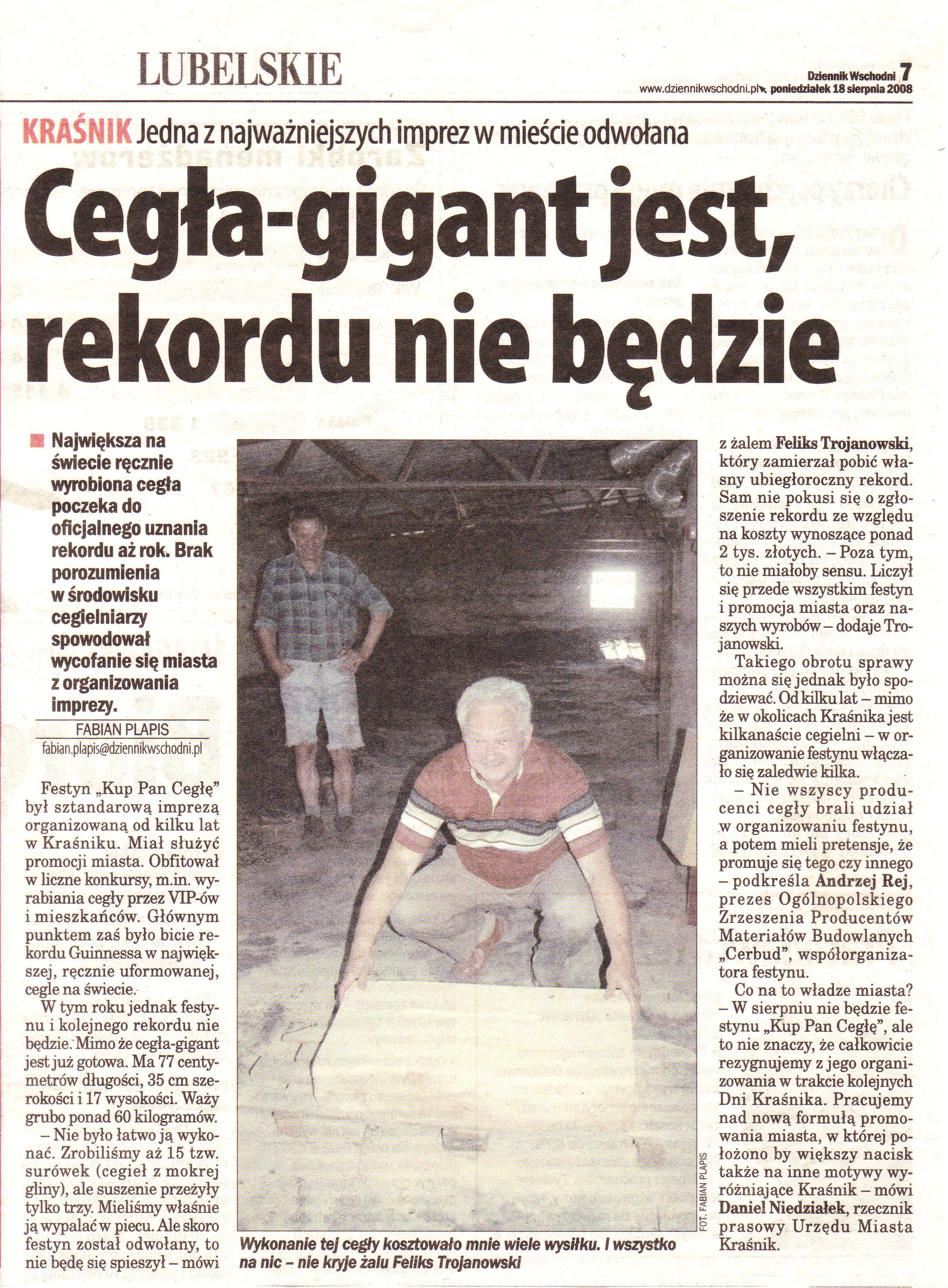 """""""Dziennik Wschodni"""" 18 Sierpień 2008"""