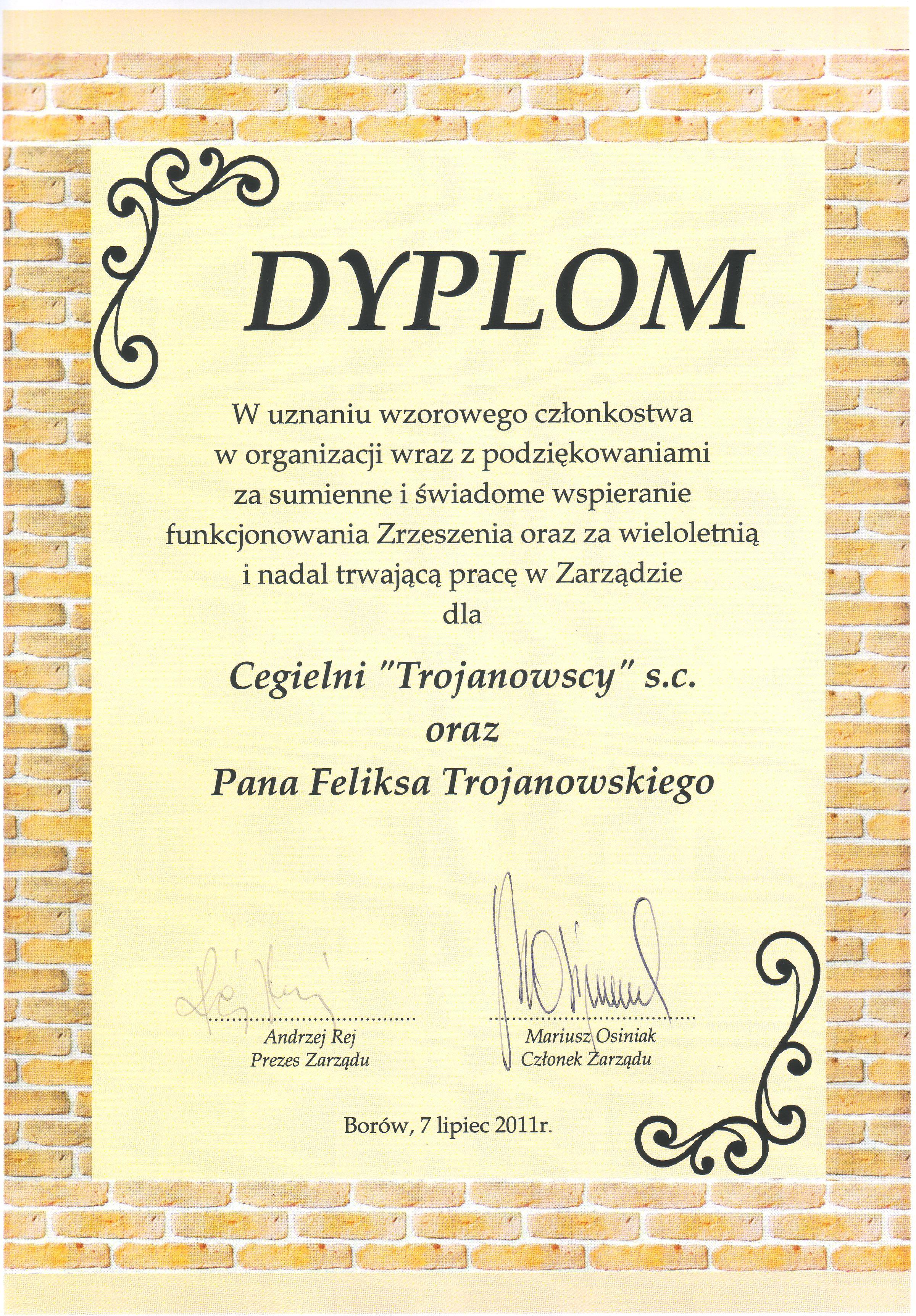 Otrzymaliśmy dyplom za wspieranie zrzeszenia CERBUD