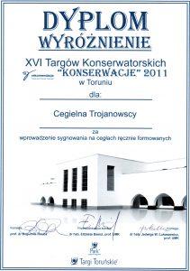 Dyplom wyróżnienie dla Cegielni Trojanowscy – XVI Targi Konserwatorskie Toruń