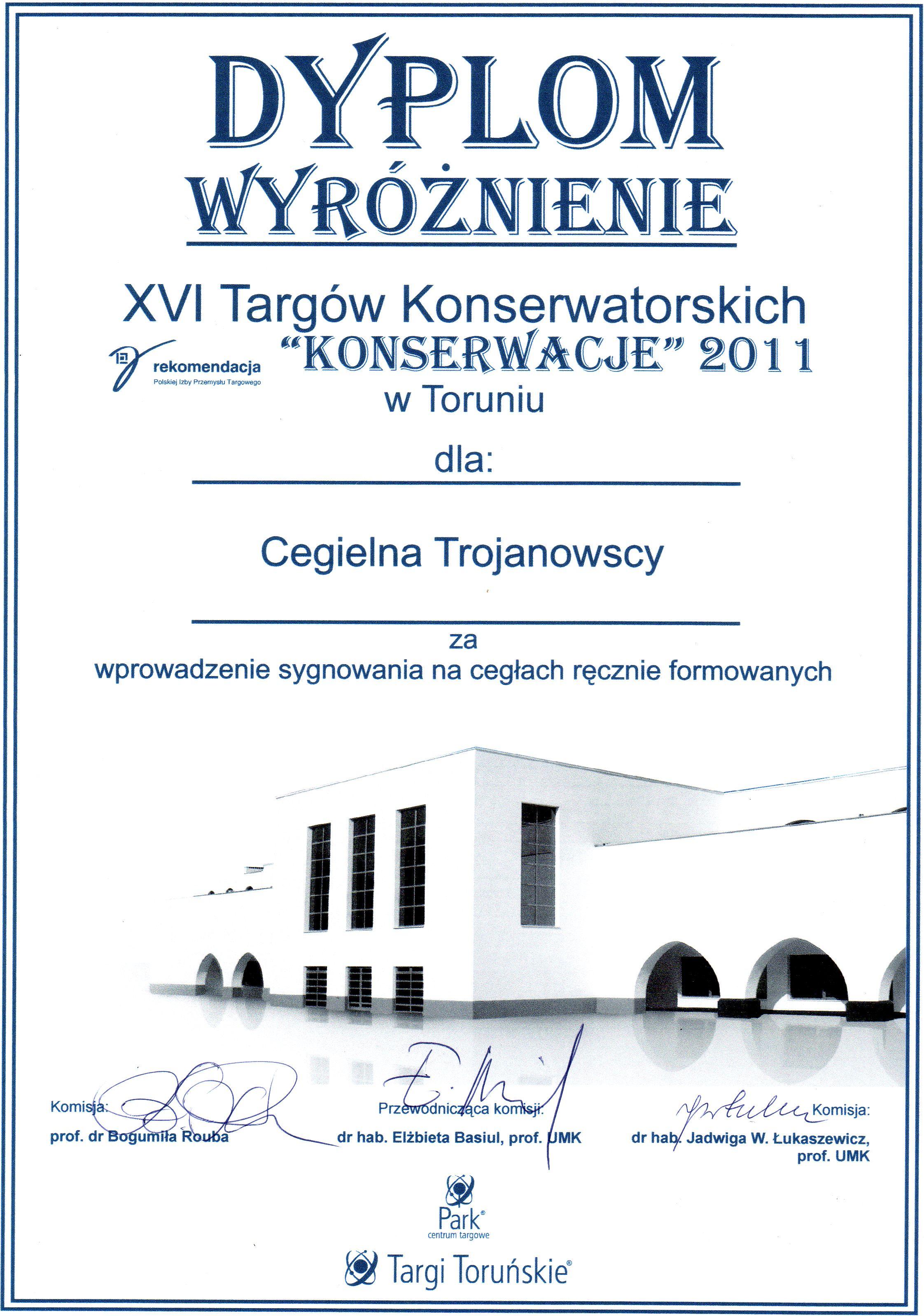 Dyplom wyróżnienie dla Cegielni Trojanowscy – Targi Konserwatorskie Toruń