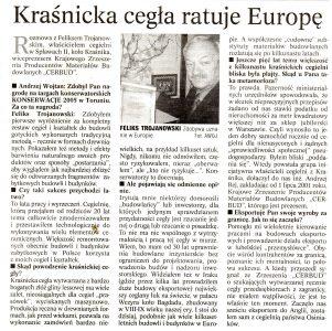 Artykuł gazeta kurier lubelski grudnia 2005 feliks trojanowski prezez cerbud najlepsza polska cegła