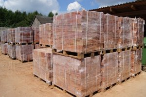 Pallets of sorted handmade brick