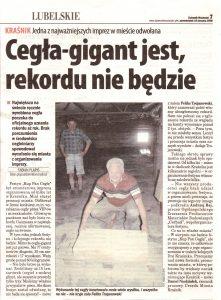 Gazeta dziennik wschodni 2008 największa cegła rekord Guinnessa Cegielnia Trojanowscy