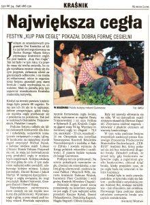 Gazeta Kurier lubelski sierpień 2007 kup pan cegłę festyn największa cegła Cegielnia Trojanowscy