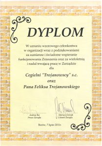 Cegielnia Trojanowscy otrzymała dyplom od zrzeszenia CERBUD