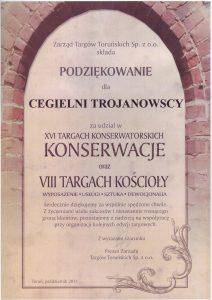Cegielnia Trojanowscy dyplom targi Toruń Konserwacje i kościoły