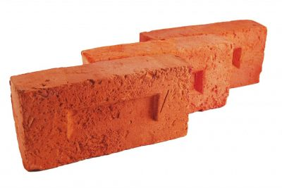 Brick facade antiqued red