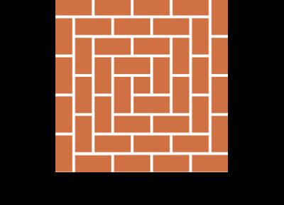 Układ spiralny płytek ceglanych podłogowych ręcznie formowanych manufaktura cegielnia trojanowscy