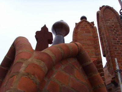 handmade keystone for restoration brick red