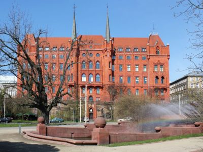 town hall restored red brick english imperial size producer manufactory poland