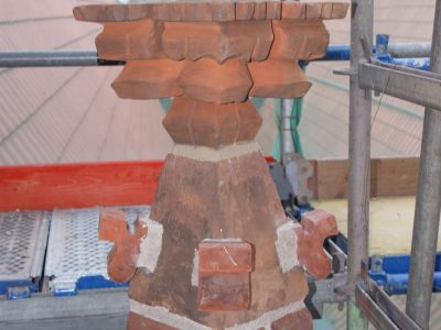 Ceramic sculpture of brick hand molded producer brick factory Trojanowscy