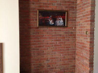 Kunst Mauer Ziegel Rot Hand geformt