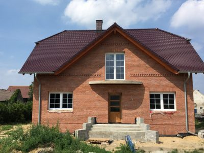 elevation of brick red hand molded