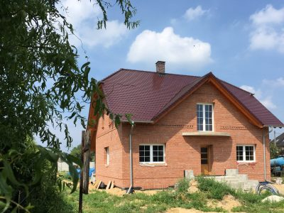house with red brick hand produced brickyard