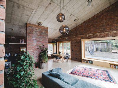 Haus mit Ziegel Retro