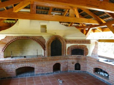 fireplace with bricks melange