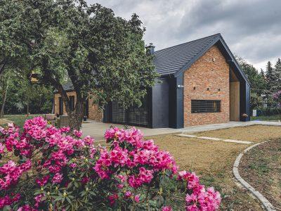 brick facing modern barn